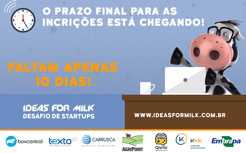 Cadeia do leite cria oportunidade para startups É a terceira edição do Ideas for Milk, liderado pela Embrapa