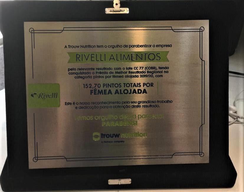 Nutrição de matrizes de corte na Rivelli Alimentos contribuiu para conquista de prêmios Nacional e Regional